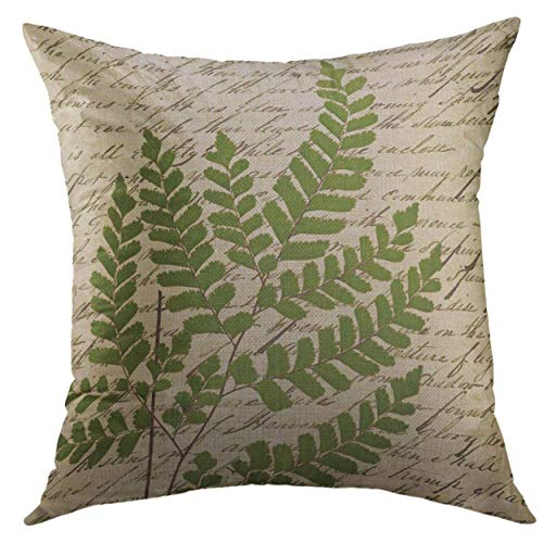 Mugod Decorative Throw Pillow Cover for Couch Sofa,Vintage Fern on Script Botanical Home Decor Pillow Case 18x18 ()