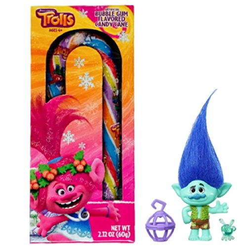Bubble Gum Canes (Trolls Branch Figurine and Bubble Gum Flavored Candy Cane)