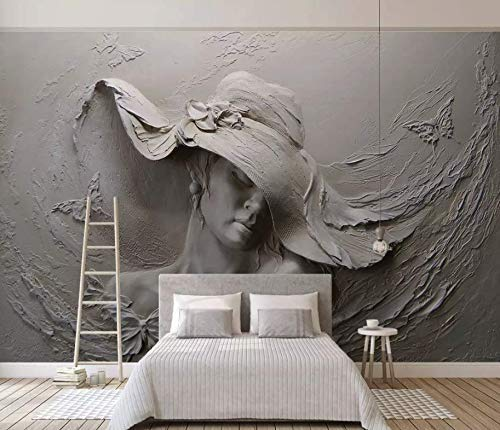 (Murwall Sculpture Wallpaper 3D Embossed Wall Mural Pretty Woman Cement Wall Art Living Room Bedroom Cafe)