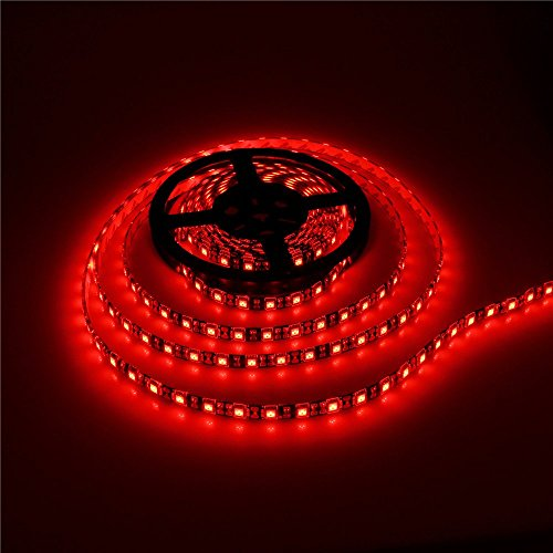 Fix Red Light (ALITOVE 16.4ft 5050 SMD Red LED Flexible Strip ribbon Light 5M 300 LEDs Waterproof IP65 DC 12V for Home Garden Commercial Area)