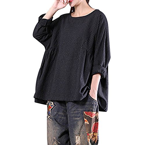 Youthny Women's Solid Long Sleeve Pleated Loose Cotton Linen Shirt Blouse (Pleated Long Sleeve Linen Shirt)