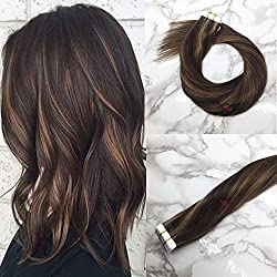 Misstar 16inch Highlighted Brown Tape in Human Hair Extensions Dark Brown with Chesnut Brown Real Remy Tape in Hair Extensions Human Hair 20pcs