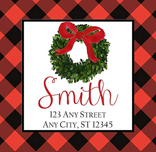 bels Red Black Buffalo Check Wreath Square Stickers Gifts Address Labels 2.5 Inches with 15Pcs ()