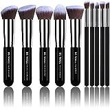 makeup brush starter kit - BS-MALL(TM) Makeup Brushes Premium Makeup Brush Set Synthetic Kabuki Makeup Brush Set Cosmetics Foundation Blending Blush Eyeliner Face Powder Lip Brush Makeup Brush Kit(10pcs, Silver Black)