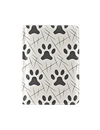 Sunlome Cats Dogs Paw Footprint Leather Passport Holder Cover Travel Wallet Case for Men Women