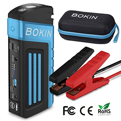 BOKIN 800A Peak 20000mAh Portable Car Jump Starter (up to 8.0L V8 Engine) Auto Battery Pack Booster QC3.0&Type C USB Output Rescue Blade Safety Hammer
