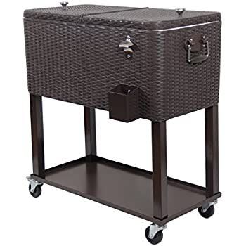 upha 80 quart patio ice chest cooler cart on wheel with shelf - Patio Coolers