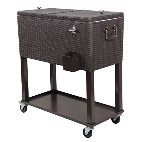 Upha 80 Quart Rolling Cooler Cart Outdoor Patio Party