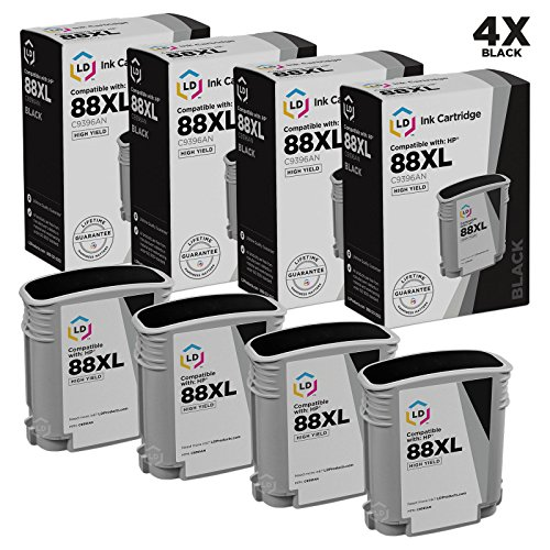 (LD Remanufactured Ink Cartridge Replacement for HP 88XL C9396AN High Yield (Black, 4-Pack))