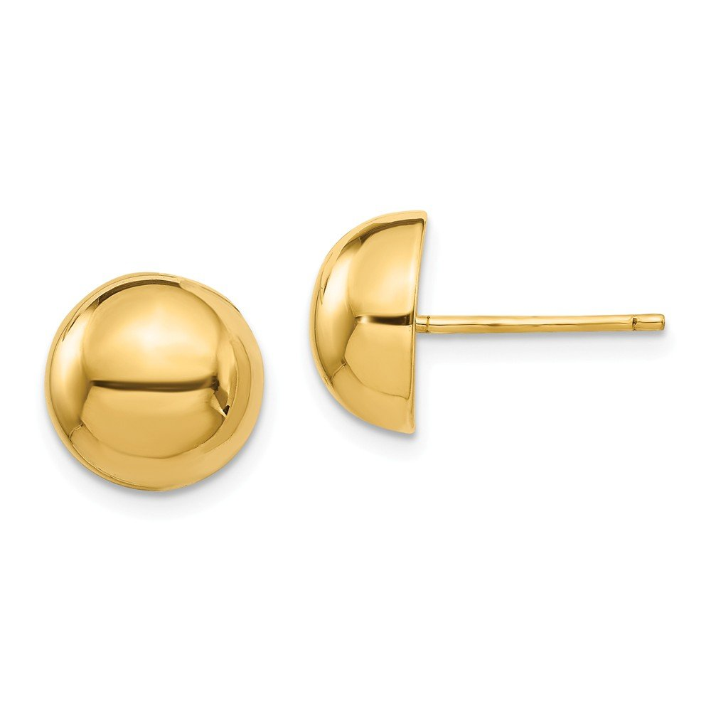 14K Yellow Gold Polished 10mm Half Ball Post Earrings 0.41 in x 0.41 in