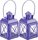 ROX Luxury House 2 Purple Railway Style Tealight Candle Lantern Lamps Handles amp; Hinged Doors