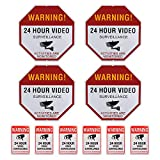 Video Surveillance Sign Set, 4 (12'' X 12'') Aluminum Waterproof Indoor Outdoor Warning Signs & 6 (6''X4'') Window Stickers, Video Security Signs