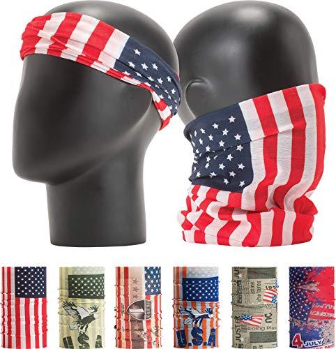 - LEEVO Pattern Bold Headwear Scarf Boho Headband Wrap Shield Neck Gaiter Bandana (Free Size (18.5