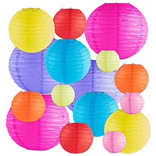 (16 Pack Assorted Colorful Decorative Chinese/Japanese Floating Sky Paper Lanterns Metal Frame for Events, Party Decoration (Multiple)