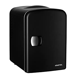Gourmia GMF600 Thermoelectric Mini Fridge Cooler and Warmer - 4 Liter/6 Can - For Home,Office, Car, Dorm or Boat - Compact & Portable - AC & DC Power Cords - Black