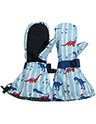 Waterproof Stay-on Winter Snow and Ski Mittens Fleece-Lined for Baby Toddler Kids Girls and Boys