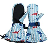 Waterproof Stay-on Snow Mittens for Baby Toddler Kids (S: 2-4Y, Dinosaur)