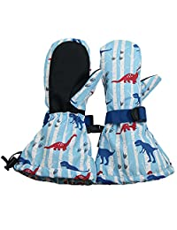 Waterproof Stay-on Snow Mittens for Baby Toddler Kids (M: 4-6Y, Dinosaur)