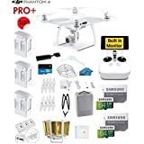 DJI Phantom 4 PRO Plus (Pro+)Quadcopter Drone with 1-inch 20MP 4K Camera KIT with Built in Monitor + 3 Total DJI Batteries + 2 64GB Micro SD Cards + Reader + Guards + Range Extender + Charging Hub
