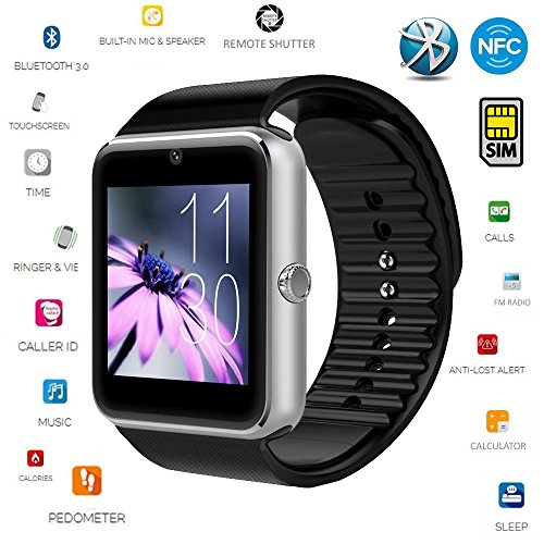 Smart Watch,[U.S. Warranty]JoyGeek All-in-1 Bluetooth Watch Wrist Watch Phone with SIM Card Slot and NFC for IOS Apple iPhone,Android Samsung HTC Sony LG Smartphones(Silver)