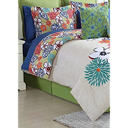 Image of Fiesta 4 Piece Lucia Comforter Set - Full - with Coordinating Bed Skirt & 2 Pillow Shams