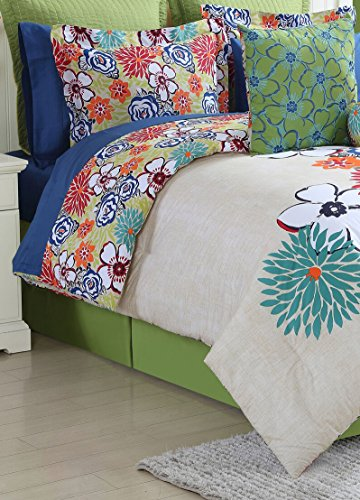 Fiesta 4 Piece Lucia Comforter Set with Bed Skirt & 2 Pillow Sham, (Lucia Comforter Set)
