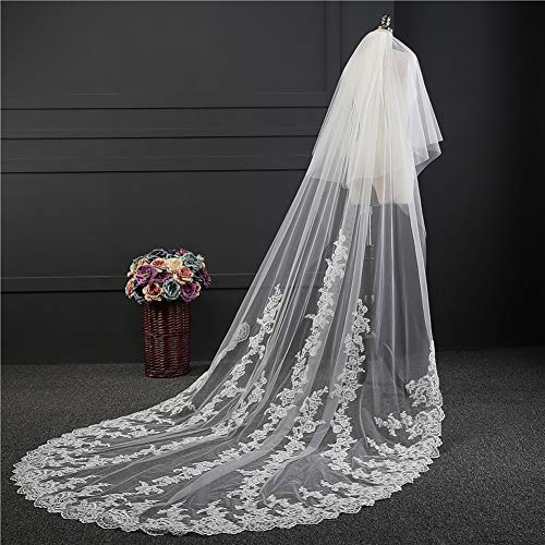 HHveil Lace Edge Bridal Veils Double Layer 3.8 Meter White Luxury Cathedral Lace Edge Bride Veil with Comb Wedding, White, 31.8m