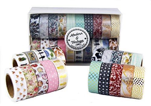 Modern & Vintage Washi Tape Set - 20 Premium Decorative Tapes | Includes 7 Gold Foil Washi Tape | 10M Rolls | Scrapbooks, DIY Crafts, Cards, Journals, planners, gifts -