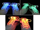 Lingduan 3 Pairs Waterproof Luminous LED Shoelaces Fashion Light Up Casual Sneaker Shoe Laces Disco Party Night Glowing Hip-hop Dancing Shoe Strings
