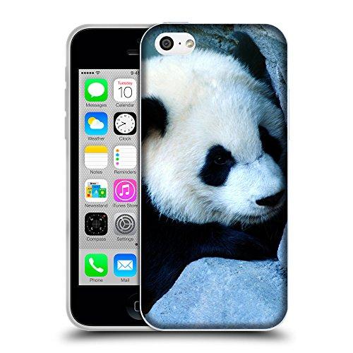 Just Phone Cases Coque de Protection TPU Silicone Case pour // V00004103 Charmant petit ours panda // Apple iPhone 5C