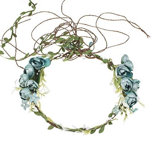 Big Flower Headband - Floral Fall Adjustable Bridal Flower Garland Headband Flower Crown Hair Wreath Halo F-83 (A-Blue Crown)