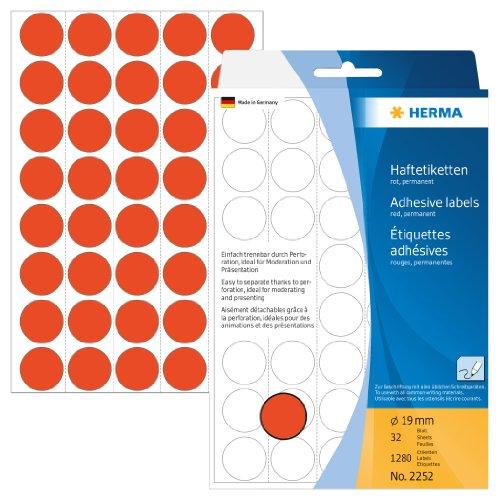 Herma 2252 Vielzwecketiketten (Ø 19 mm, rund Papier matt) 1280 Stück rot