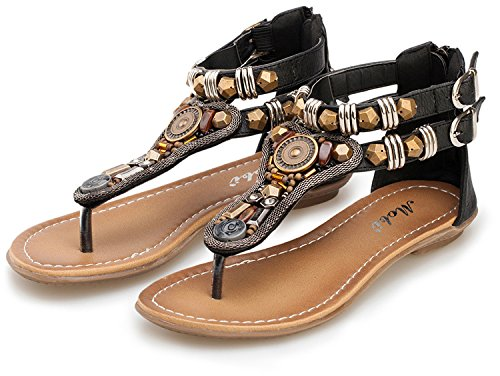 Women Black Sandals Flats Flip Summer ZAMME Slippers Shoes Flops ORwqxSS4dz
