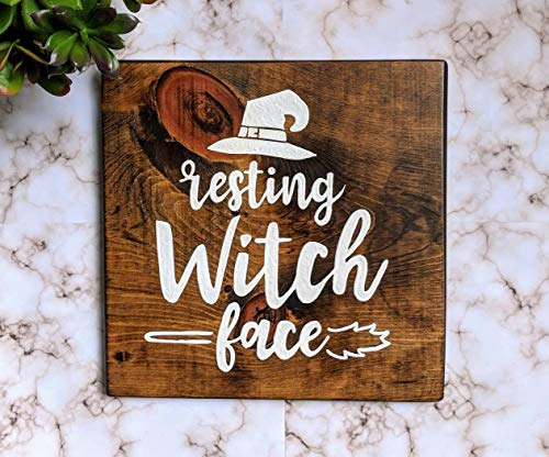 (Burkewrusk Resting Witch Face Wood Sign Hand Painted Decoration House Fall time Halloween Wall Plaque Customized Autumn)