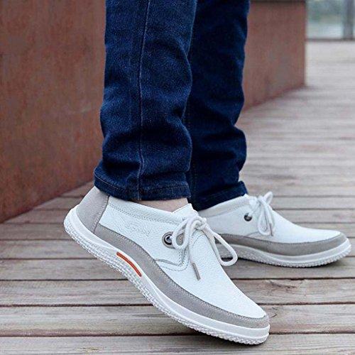 ZXCV Zapatos al aire libre Zapatos de los hombres zapatos salvajes cómodos salvajes zapatos de encaje de cuero zapatos de los hombres Blanco