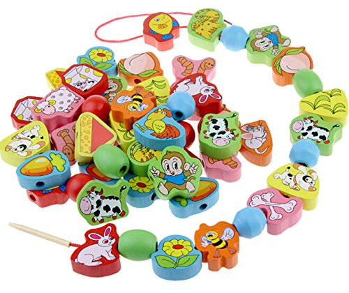 Elloapic 63 Piece Colorful Wood Animal Pair On The Rope Lacing Beads Early Teaching Toy ()