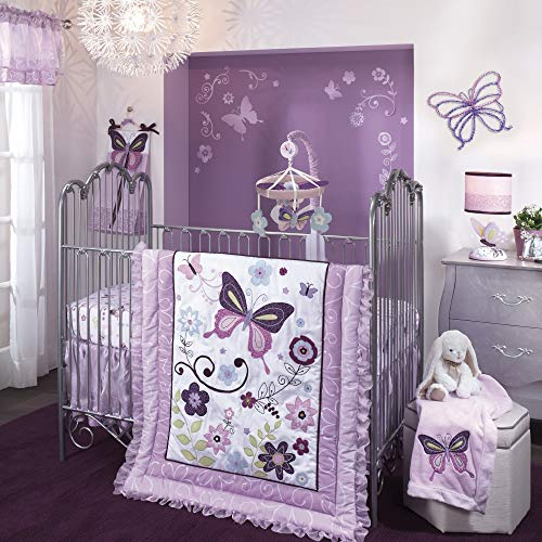 (Lambs & Ivy Butterfly Lane Purple/White 5-Piece Nursery Baby Crib Bedding Set)