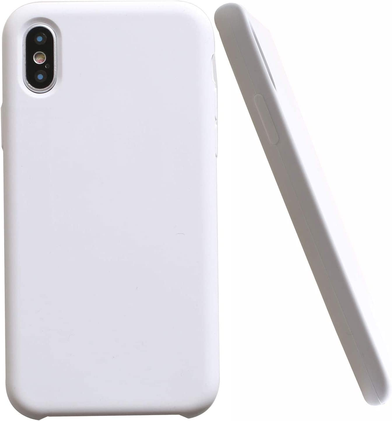 Soft Liquid Silicone iPhone X Cover Case Inner Soft Microfiber Cloth Lining Cushion for Apple iPhone X/10 5.8inch (White)