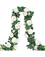 COCOBOO 4pcs 26.2 Feet Artificial Rose Vines, Fake Silk White Flower Garland Hanging Floral Garland for Wedding Arch Ceremony Home Garden Outdoor Wall Decorations