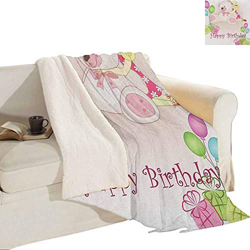 """Kids Birthday Artificial Fur Blanket Baby Girl Birthday with Teddy Bears Toys Balloons Surprise Boxes Dolls Image Outdoor Curtain Antique Decoration 60""""x70"""" Pale Pink from Miles Ralph"""