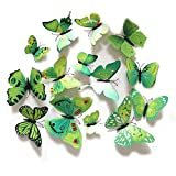 QZT 12Pcs/Set PVC 3D Multi Color Butterfly Shape Wall Stickers DIY For Home Decoration TV Background Kids Bedroom Wall Decals Green