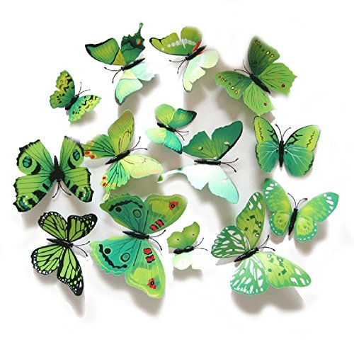 QZT 12Pcs/Set PVC 3D Multi Color Butterfly Shape Wall Stickers DIY For Home Decoration TV Background Kids Bedroom Wall Decals Green by QZT