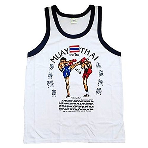 Men's Tank Top Singlet Vest Gym Muay Thai Men T-shirt Cotton 100% Made in Thailand (White, L)
