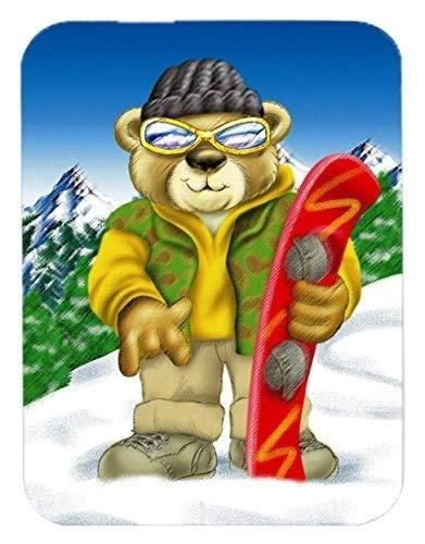 Flying Pig Men Teddy Bear Snowboarding Mouse Pad, Hot Pad or Trivet, - Snowboarding Onesie