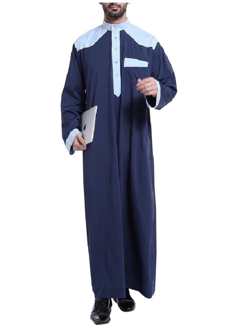 Winwinus Mens Button-Up Long-Sleeve Islamic Saudi Arabia Muslim Thobe Navy Blue XS