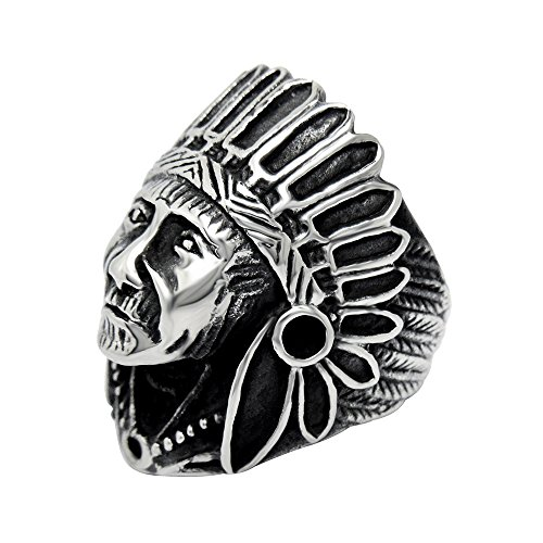 Indian Ring (FANSING Costume Jewelry Mothers Day Gift Men's Stainless Steel Indian Chief Rings Size 7)