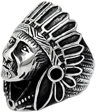 FANSING Mens Jewelry Stainless Steel Indian Chief Rings