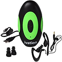 4GB Waterproof MP3 Player & Earphones with Built-In Support Clip – IPX8 Fully Submersible – Great for Swimming, Water Exercise, Skiing & More