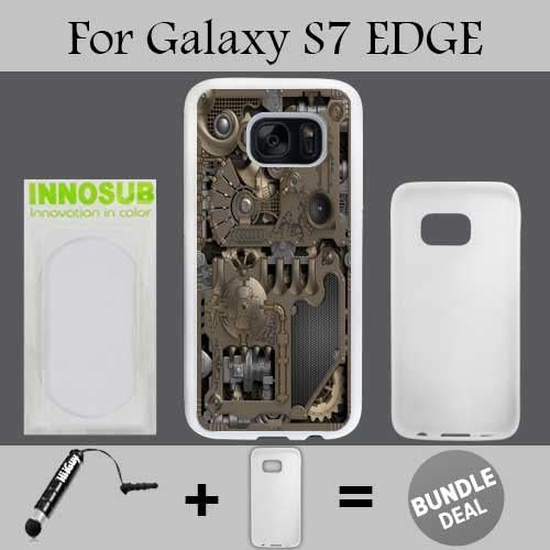 Steampunk Mechanical Gears Custom Galaxy S7 EDGE Cases-White-Rubber,Bundle 2in1 Comes with Custom Case/Universal Stylus Pen by innosub Sales
