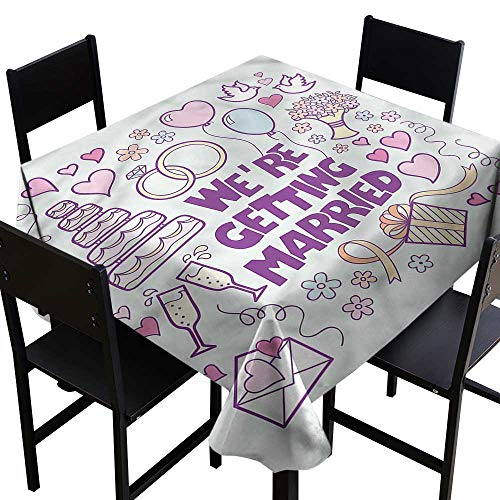 (home1love Wedding Fashions Table Cloth Happy Collection Doves Resistant/Spill-Proof/Waterproof Table Cover 36 x 36 Inch)